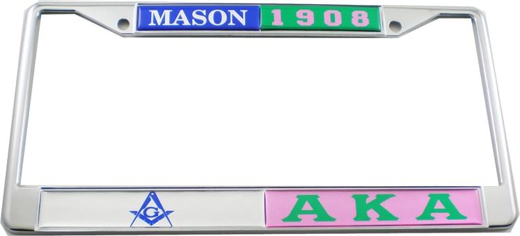 Eastern Star,Order of Fraternal Masonic Chrome License Plate Frame Dome Emblem