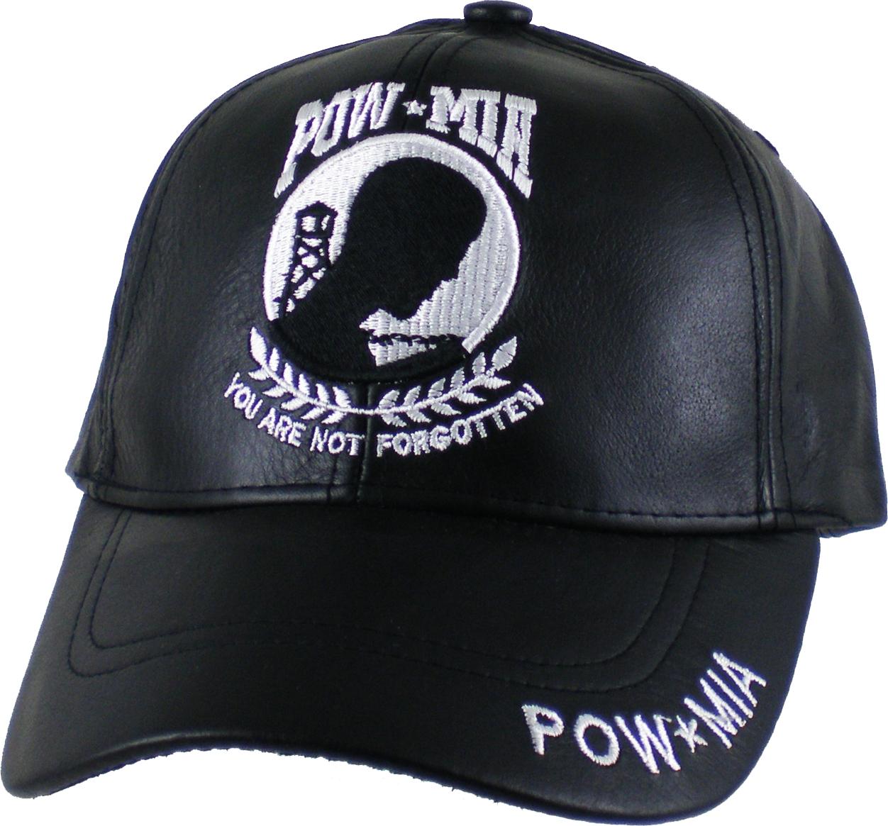 Black - Adjustable US Honor POW MIA Logo Leather Mens Cap