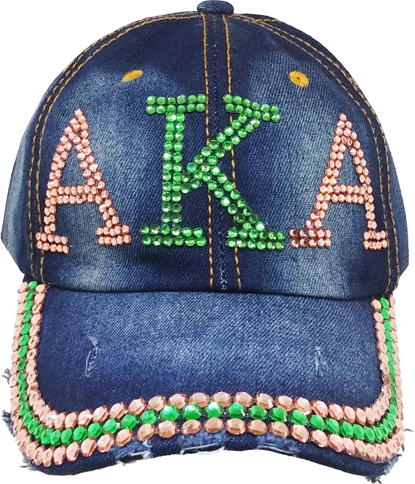 35c00c49f1dee Alpha Kappa Alpha Distressed Denim Rhinestone Ladies Cap