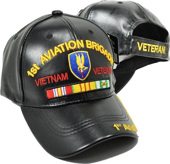 87be74f7e3c9de 1st Aviation Brigade Vietnam Veteran PU Leather Mens Cap   The ...