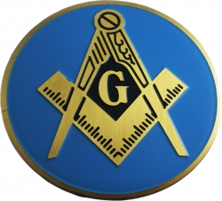View Buying Options For The Mason Blue Lodge Symbol Etched Car Emblem