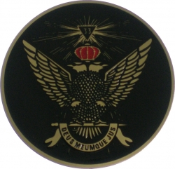 View Buying Options For The 33rd Degree Wings Up Etched Round Car Emblem