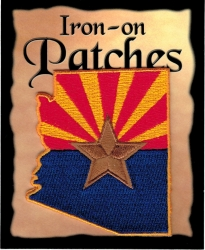 View Buying Options For The Arizona State Shaped Flag Iron-On Patch [Pre-Pack]