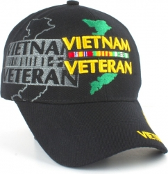 View Buying Options For The Vietnam Veteran Map & Ribbons Shadow Mens Cap