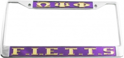 View Buying Options For The Omega Psi Phi F.I.E.T.T.S. License Plate Frame