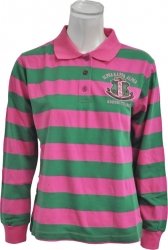 View Buying Options For The Alpha Kappa Alpha Rugby Style Striped Polo Womens Tee