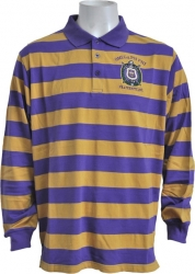 View Buying Options For The Omega Psi Phi Rugby Style Striped Polo Mens Tee