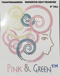 View Buying Options For The Alpha Kappa Alpha Pink & Green Lady Face Rhinestone Heat Transfer