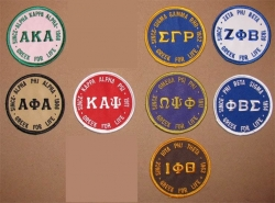 View Buying Options For The Greek for Life Old School Round Iron-On Patch
