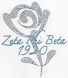 View Buying Options For The Zeta Phi Beta Rose Rhinestone Heat Transfer