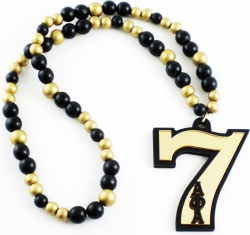 View Buying Options For The Alpha Phi Alpha Line #7 Mirror Wood Color Bead Tiki Necklace