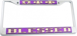 View Buying Options For The Omega Psi Phi Blessed License Plate Frame