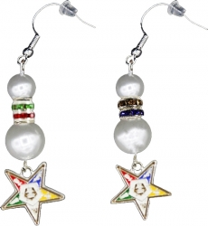 View Buying Options For The Order of the Eastern Star Pearl Earrings w/Shield