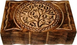 View Buying Options For The Carved Tree of Life Symbol Polished Wood Box