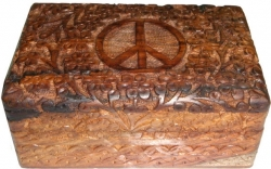 View Buying Options For The Carved Peace Symbol with Flowers and Vines Wood Box