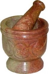 View Buying Options For The Carved Soapstone Triple Moon Mortar & Pestle