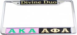 View Buying Options For The Alpha Kappa Alpha + Alpha Phi Alpha Divine Duo Split License Plate Frame