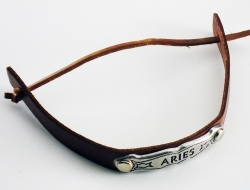 View Buying Options For The Zodiac Sign Aries Metal Badge Leather Band Bracelet [Pre-Pack]
