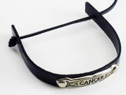 View Buying Options For The Zodiac Sign Cancer Metal Badge Leather Band Bracelet