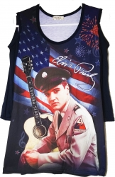 View Buying Options For The Elvis Presley Army Cold Shoulder Ladies Tee