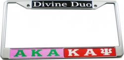 View Buying Options For The Alpha Kappa Alpha + Kappa Alpha Psi Divine Duo Split License Plate Frame