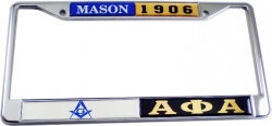 View Buying Options For The Mason + Alpha Phi Alpha Split License Plate Frame