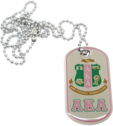 View Buying Options For The Alpha Kappa Alpha Epoxy Coated Double Sided Dog Tag