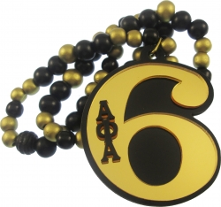 View Buying Options For The Alpha Phi Alpha Line #6 Mirror Wood Color Bead Tiki Necklace