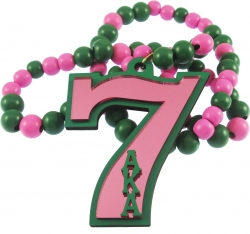 View Buying Options For The Alpha Kappa Alpha Line #7 Mirror Wood Color Bead Tiki Necklace