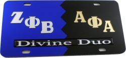View Buying Options For The Zeta Phi Beta + Alpha Phi Alpha Divine Duo Split License Plate