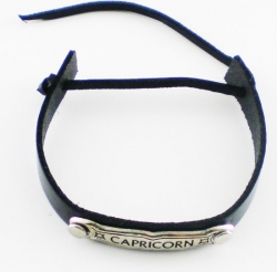View Buying Options For The Zodiac Sign Capricorn Metal Badge Leather Band Bracelet