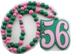 View Buying Options For The Alpha Kappa Alpha Line #56 Mirror Wood Color Bead Tiki Necklace