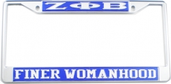 View Buying Options For The Zeta Phi Beta Finer Womanhood License Plate Frame