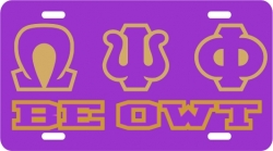 View Buying Options For The Omega Psi Phi Be Owt Insert Outline Mirror License Plate