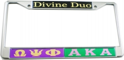 View Buying Options For The Omega Psi Phi + Alpha Kappa Alpha Divine Duo Split License Plate Frame