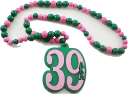 View Buying Options For The Alpha Kappa Alpha Line #39 Mirror Wood Color Bead Tiki Necklace