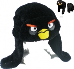 View Buying Options For The Angry Birds Black Bird Big Face Faux Fur Aviator Beanie Hat