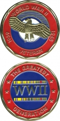 View Buying Options For The World War II Veteran The Greatest Generation 1939-1945 Challenge Coin