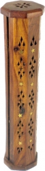View Buying Options For The Carved Wooden Tower Moon & Star Ash Catcher Incense Stick & Cone Holder