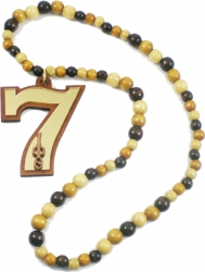 View Buying Options For The Iota Phi Theta Line Number 07 Mirror Wood Color Bead Tiki Necklace