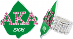 View Buying Options For The Alpha Kappa Alpha Ivy Leaf Austrian Crystal Stretchy Band Ring