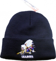 View Buying Options For The Seabees Logo with Text Cuff Beanie Mens Watch Cap