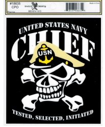 View Buying Options For The United States Navy Chief with Skull Outside Car Decal Sticker [Pre-Pack]