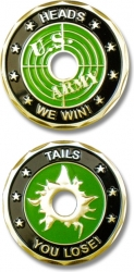 View Buying Options For The Head Tails Bullet Hole Cut-Out Spirit Challenge Coin