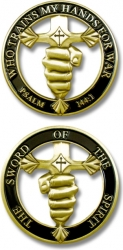 View Buying Options For The Psalm 144:1 Sword of the Spirit Cut-Out Challenge Coin