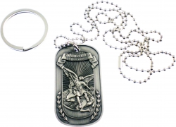 View Buying Options For The St. Michael Psalm 91:10 Embossed Dog Tag / Keyring Combo