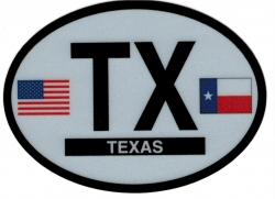 View Buying Options For The Texas State Flag 2-Letter Oval Reflective Decal [Pre-Pack]
