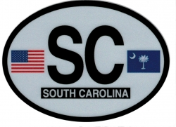 View Buying Options For The South Carolina State Flag 2-Letter Oval Reflective Decal [Pre-Pack]