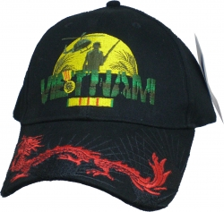 View Buying Options For The Vietnam Vet Moon Silhouette Dragon On Bill Mens Cap