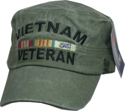 View Buying Options For The Vietnam Veteran Tonal Washed Mens Flat Top Cadet Cap